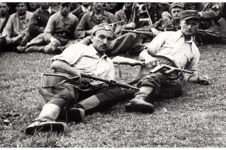 Polish AK partisans on hill in Limanowa
