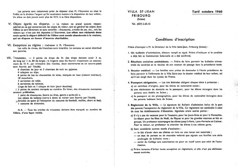 PHOTO Villa St Jean  Collège Français 1960 Advertising Brochure 9