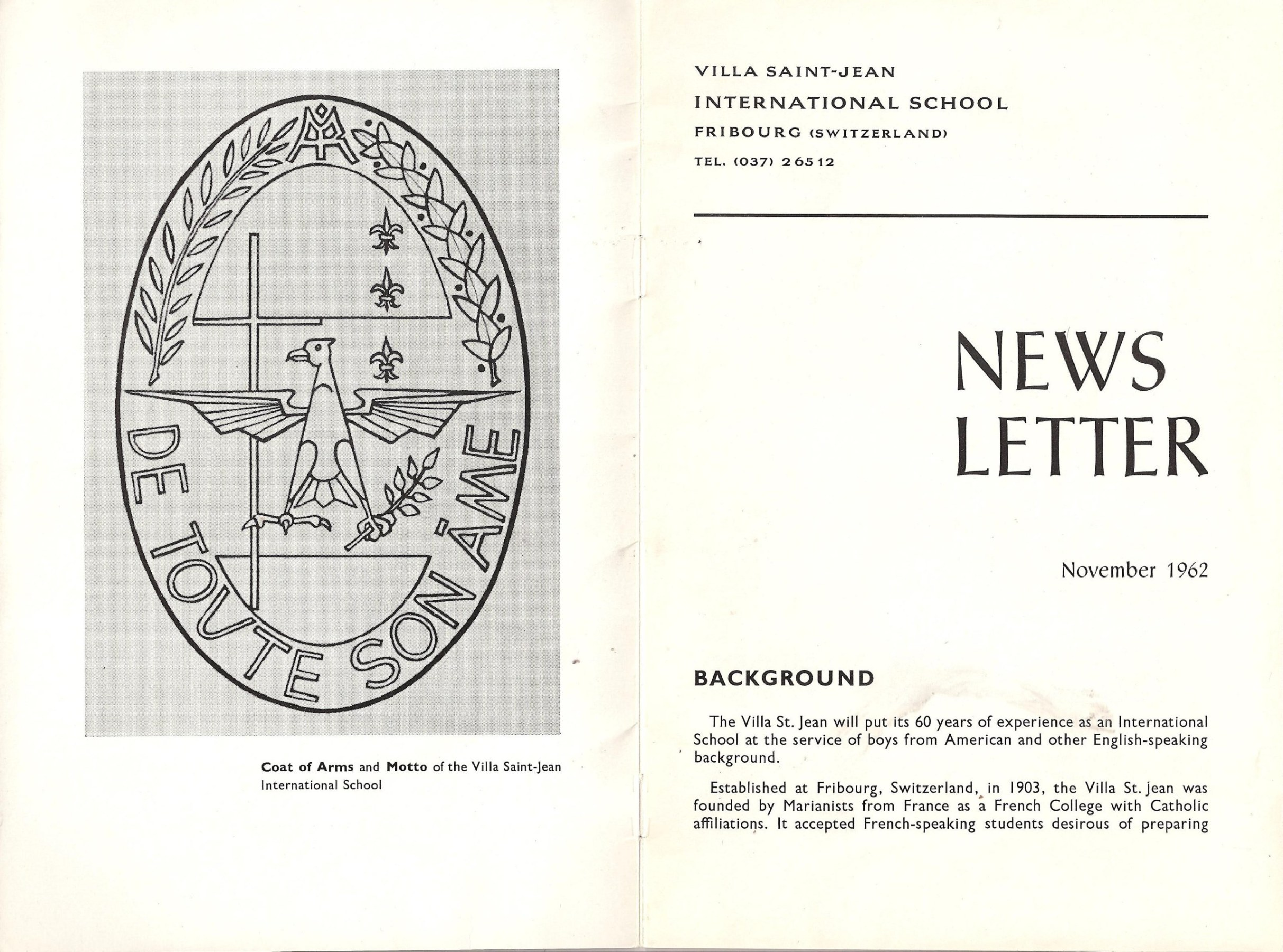 Image: Pages 1 and 2 of Villa Saint Jean November 1962 NEWSLETTER