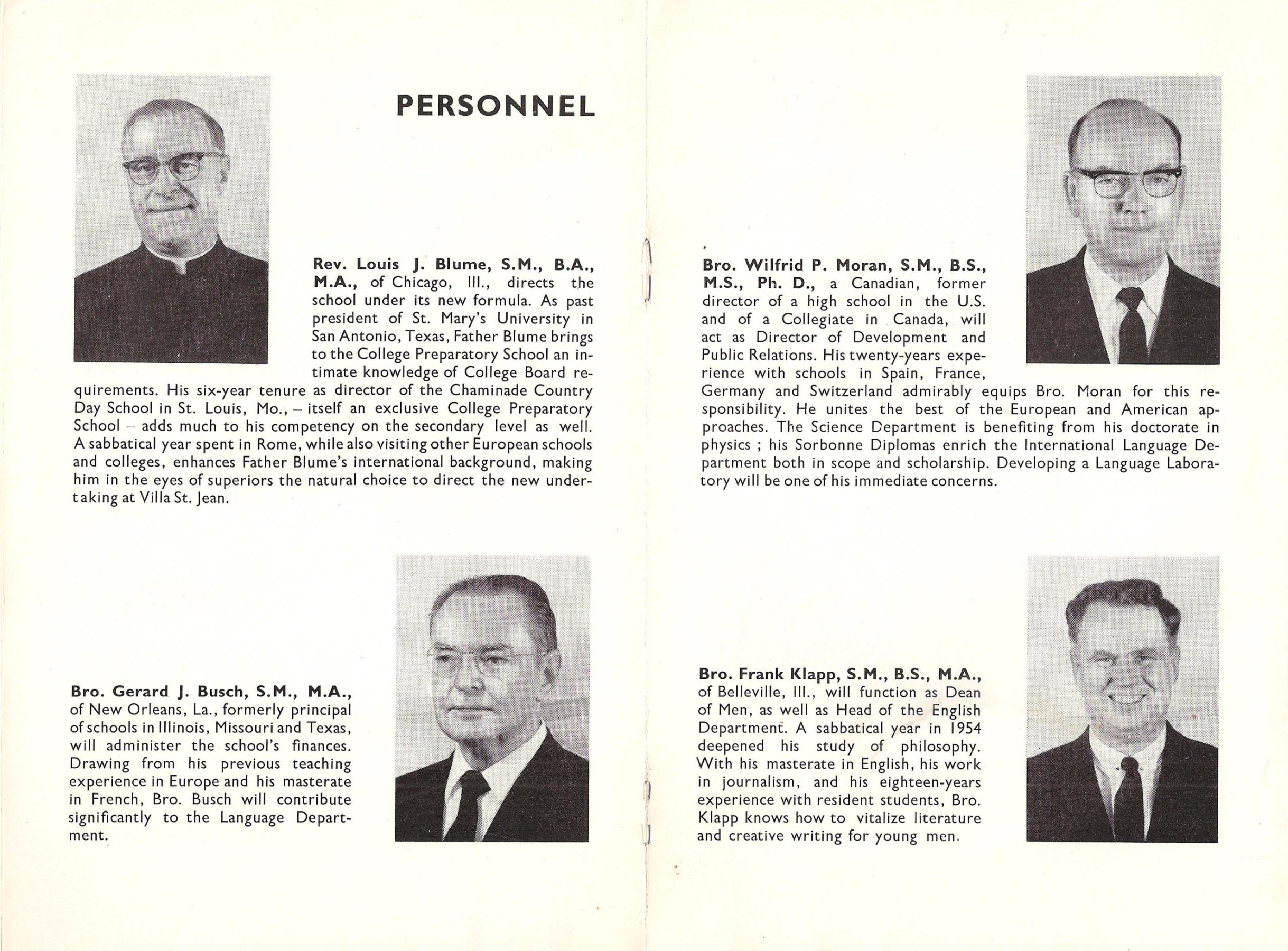 Image: Pages 5 and 6 of Villa Saint Jean November 1962 NEWSLETTER