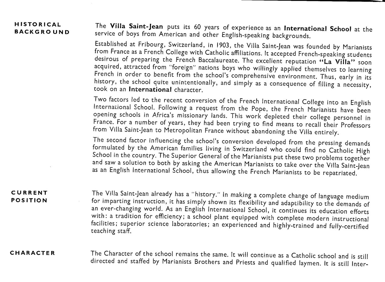 Historical Background of Villa Saint Jean International School