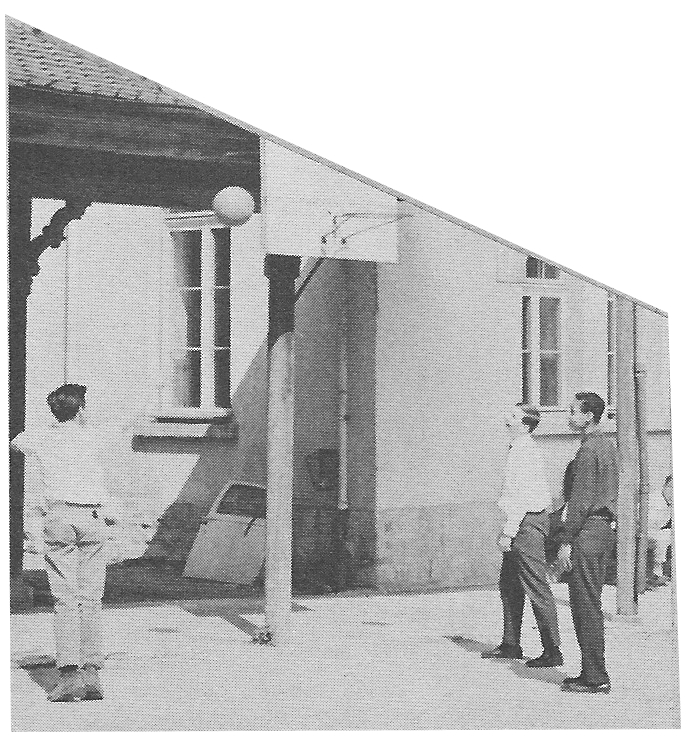 Basketball net outside of Sapiniere  Villa Saint Jean International School  1964