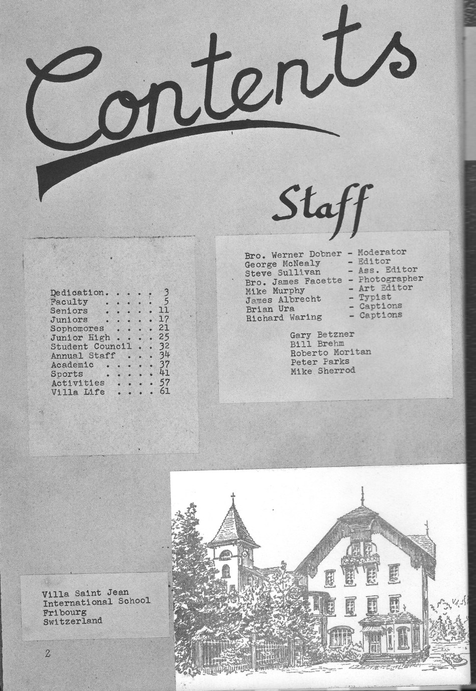 Table of Contents for  Villa Saint Jean International School  1964 Yearbook Le Chamois