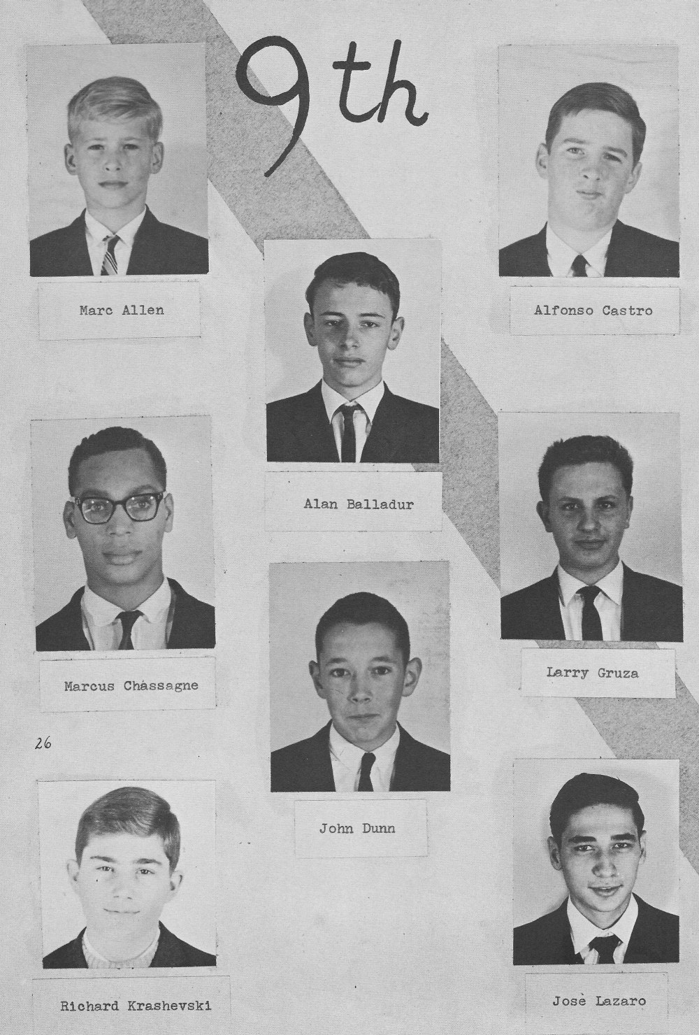 9th Grade Individual Photos 1 for  Villa Saint Jean International School  1964 Yearbook Le Chamois