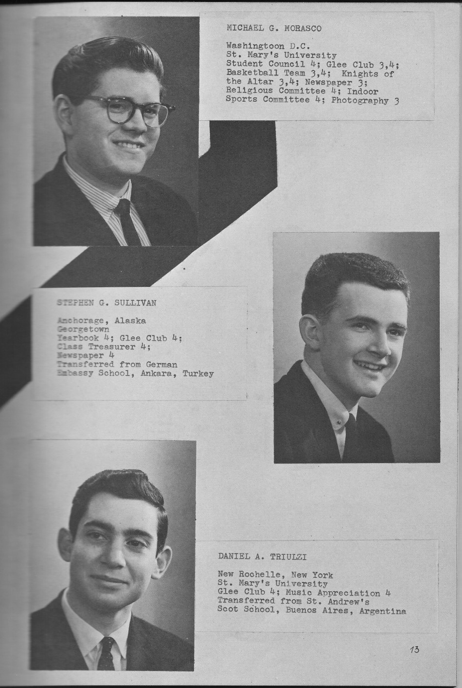 SENIORS Individual Photos 2 for for Villa Saint Jean International School  1964 Yearbook Le Chamois