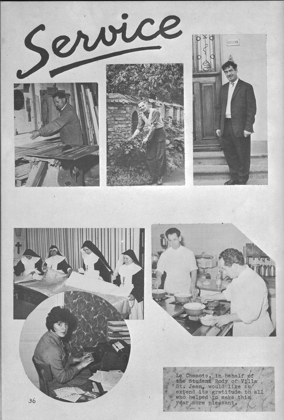 SERVICE Staff for  Villa Saint Jean International School  1964 Yearbook Le Chamois