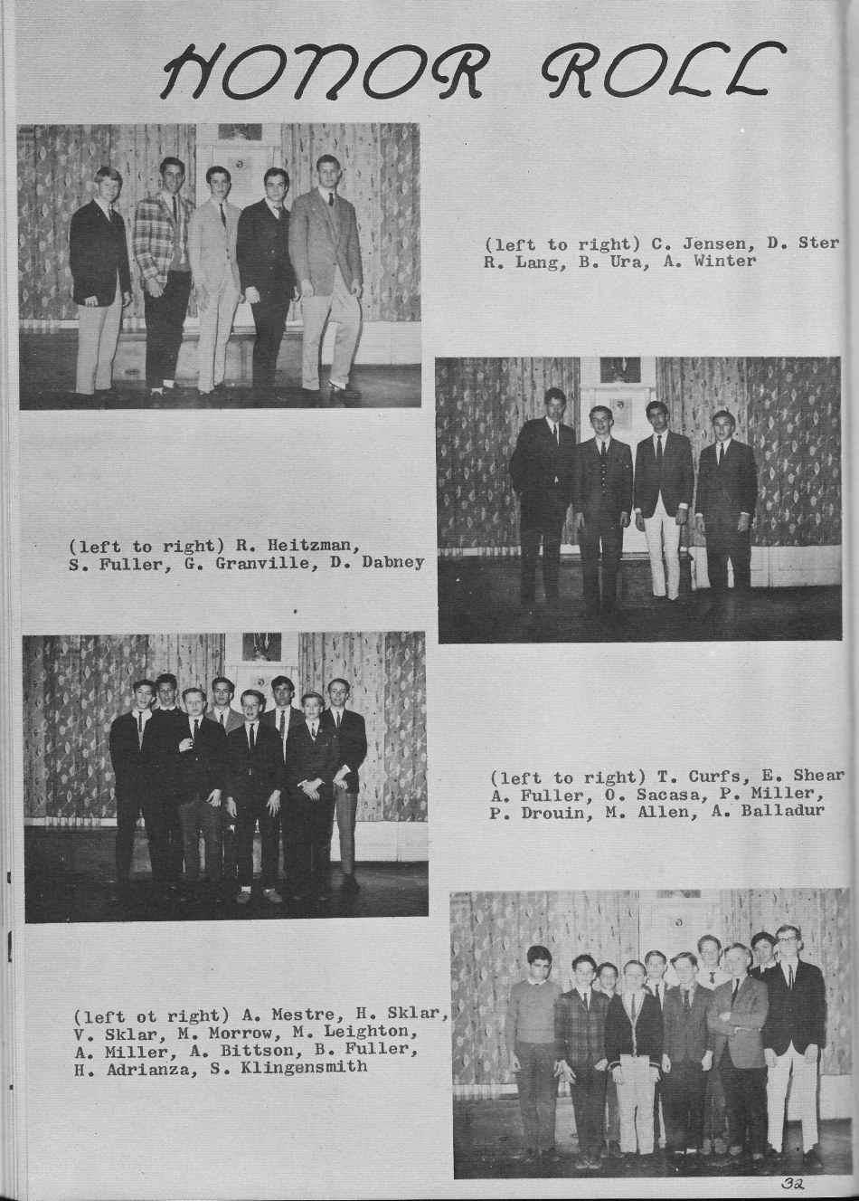 HONOR ROLL   for Villa Saint Jean International School  1965 Yearbook Le Chamois