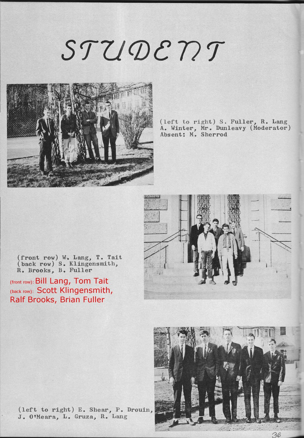 Student Council  PHOTOs 1  for Villa Saint Jean International School  1965 Yearbook Le Chamois