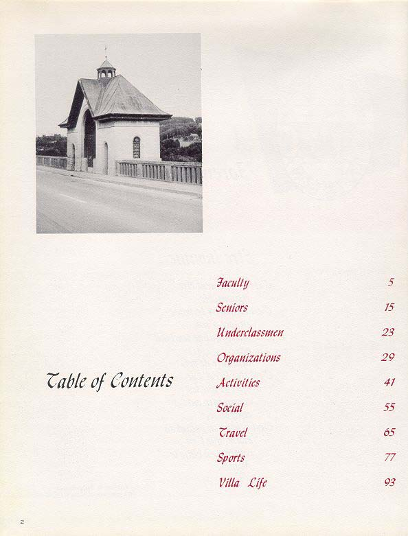 TOC  for  Villa Saint Jean International School  1970 Yearbook Le Chamois