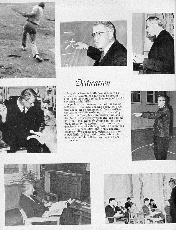 TOC  for  Villa Saint Jean International School  1970 Yearbook Le Chamois Dedication