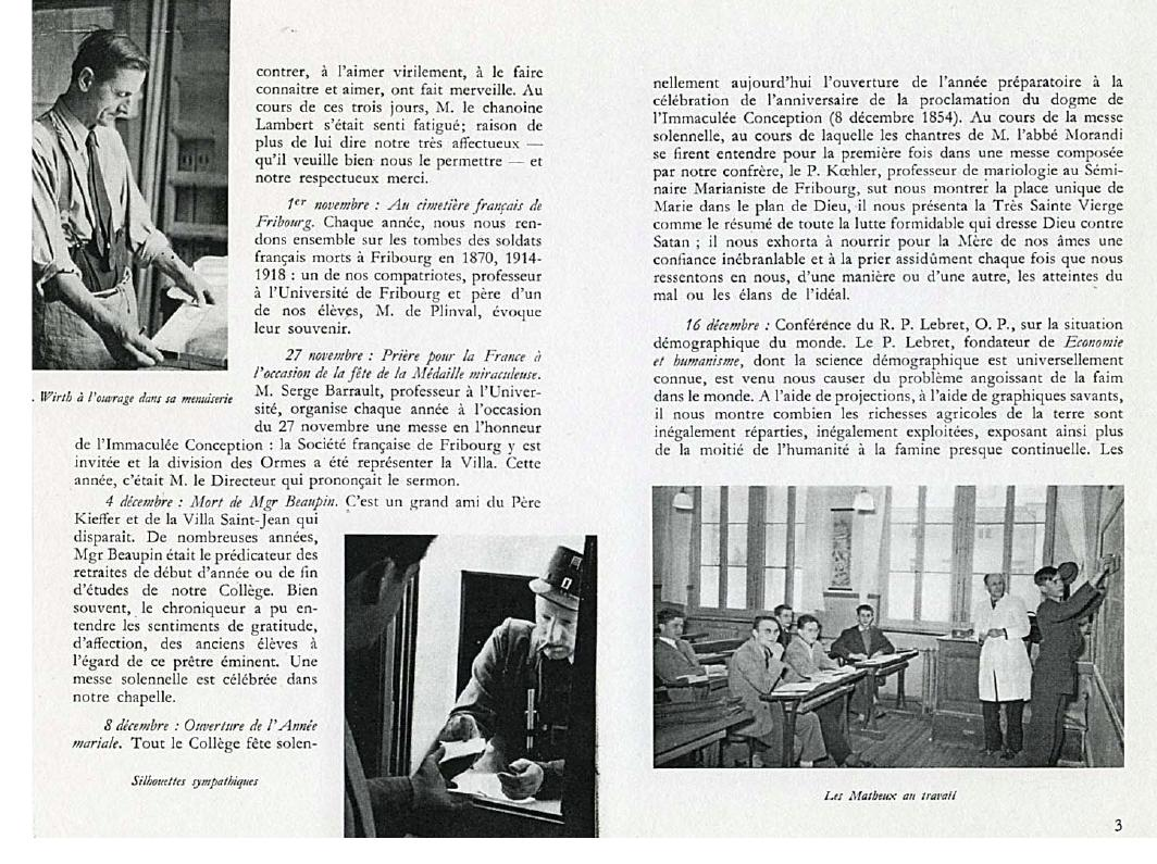 College Villa Saint-Jean 1954 -1955 Yearbook pages 2-3
