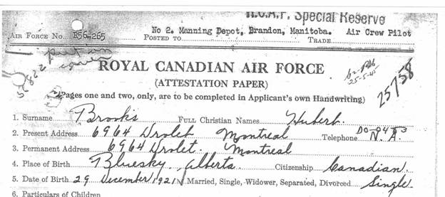 RCAF Enlistment Application Form piece 1
