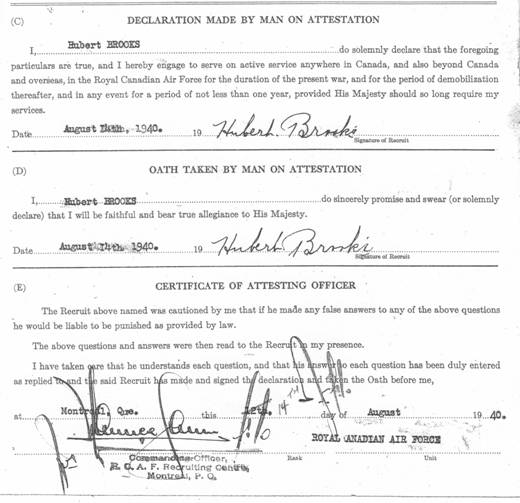 RCAF Enlistment Application Form piece 6