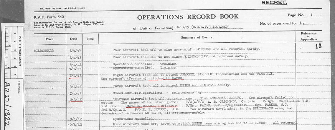 419 Squadron Operations Log