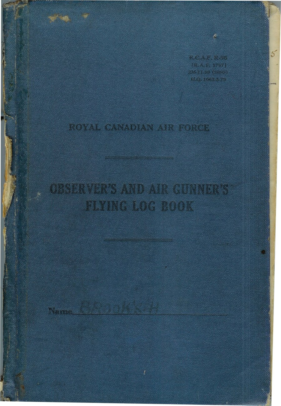 Image of Hubert Brooks RCAF WW2 Observor and Gunners Flying Log Book