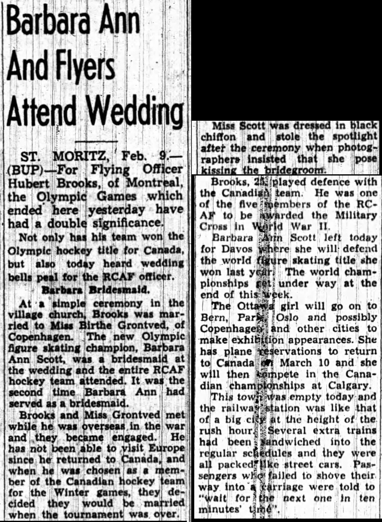 Image: Newspaper Article on Hubert Brooks wedding to Birthe Grontved in St Moritz