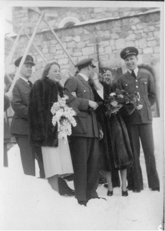 Photo: Hubert Brooks gives kiss to Bridesmaid Barbara Ann Scott after Wedding in St. Moritz
