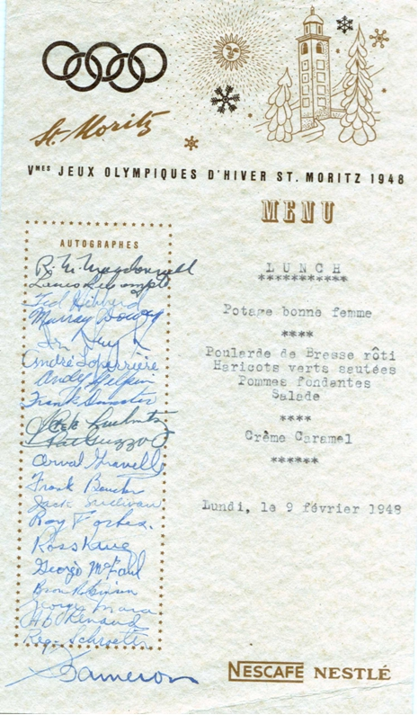 "Photo: Hubert & Birthe Brooks Wedding reception souvenir ""menu"" signed by guests including RCAF Flyers"