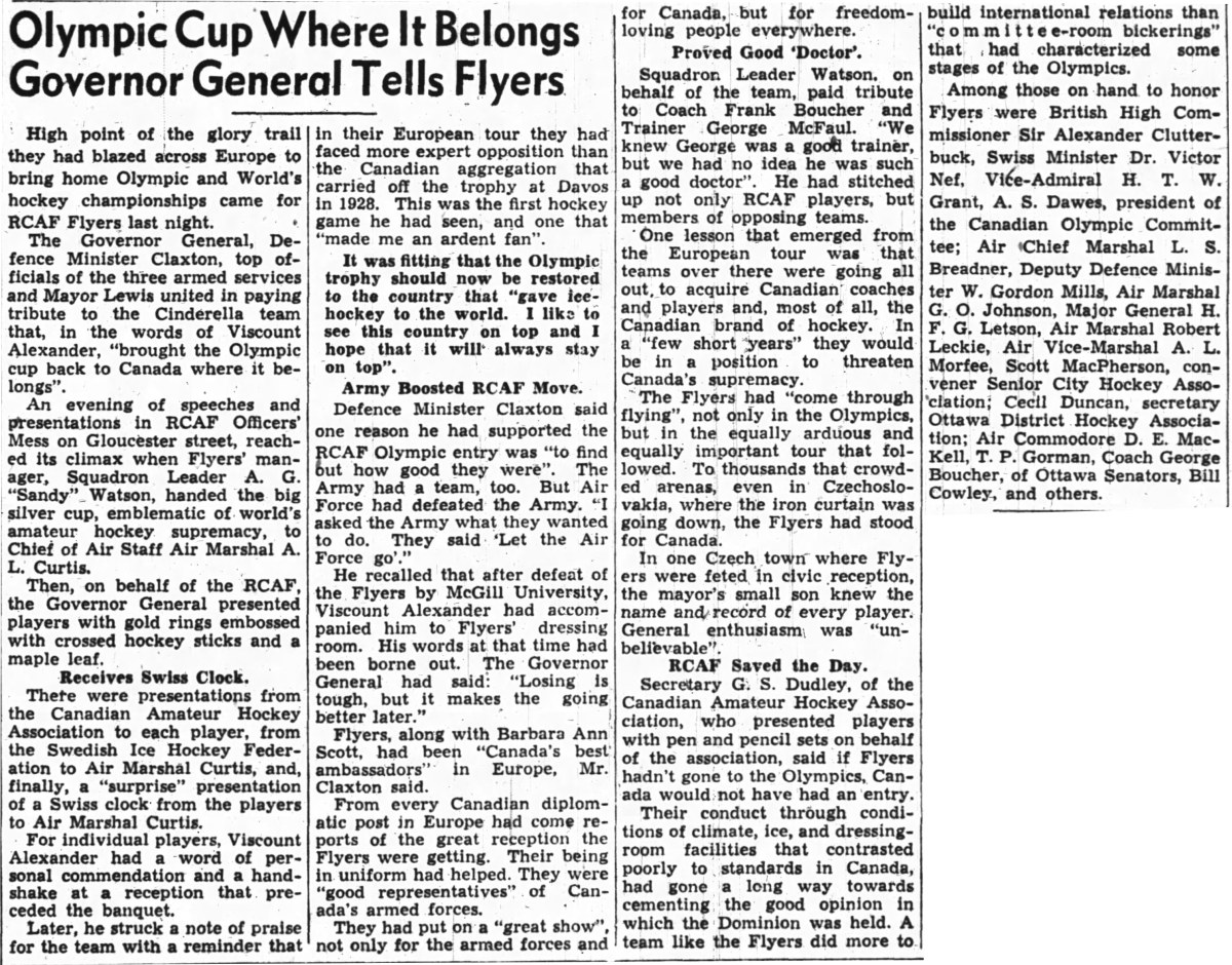 News Article: April 9, 1948 Celebration Dinner for  RCAF Flyer Olympic Champion Team at Officer Mess Beaver Barracks