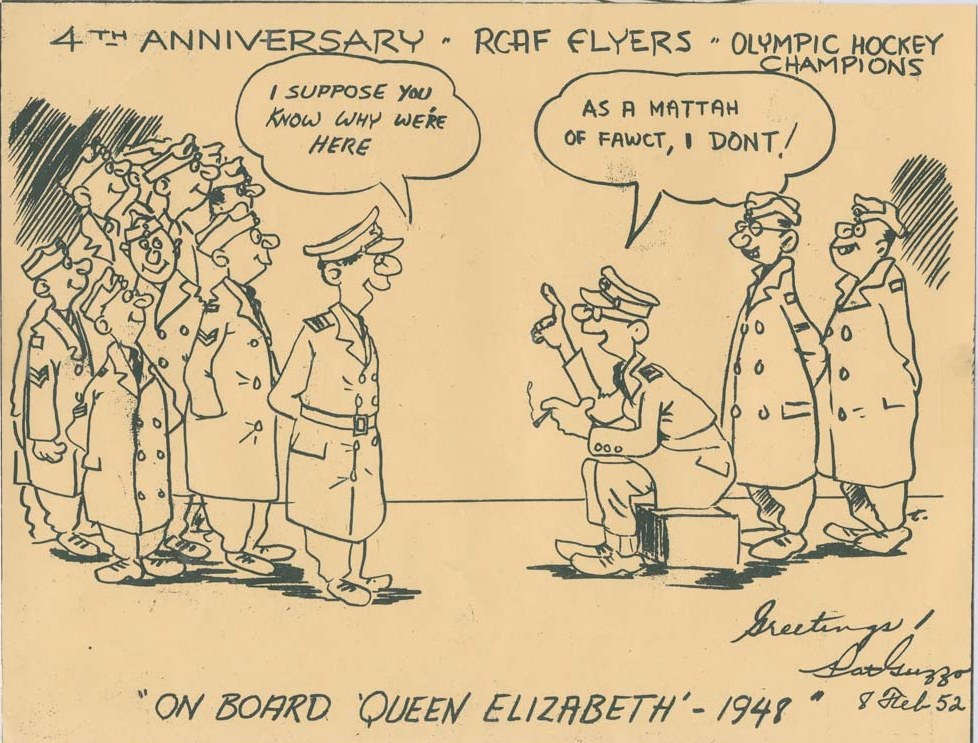 Image: 4th ANNIVERSARY 1952 R.C.A.F. FLYERS Commemerative Cartoon