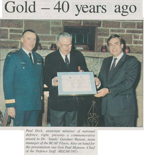 Sentinel Photo of 40th RCAF Flyer Anniversary presentation to Sandy Watson