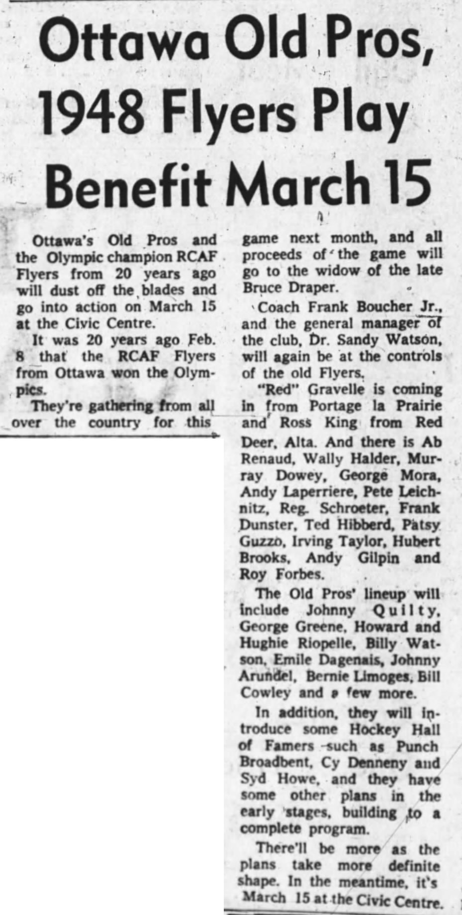 Image: Feb 27 1968 News Article  on 20th ANNIVERSARY 1948 –  R.C.A.F. FLYERS
