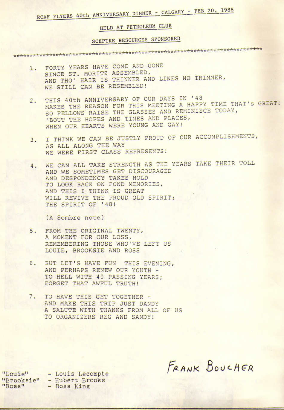Image of 40th RCAF Flyer Anniversary Poem by Frank Boucher