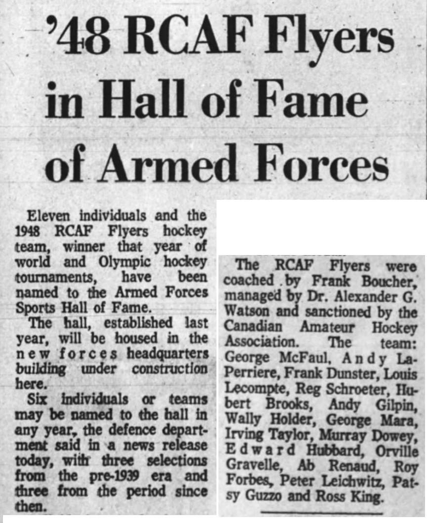 Image: November 1971 News Article Extract  RCAF Flyers Inducted into Armed Forces Sports Hall of Fame