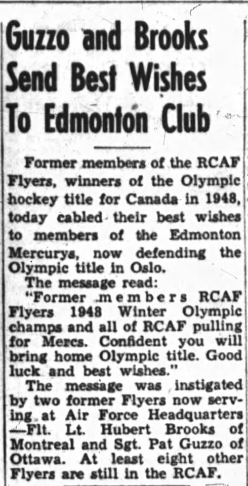 Image: News Story Brooks and Guzzo send best wishes to 1952 Edmonton Mercurys