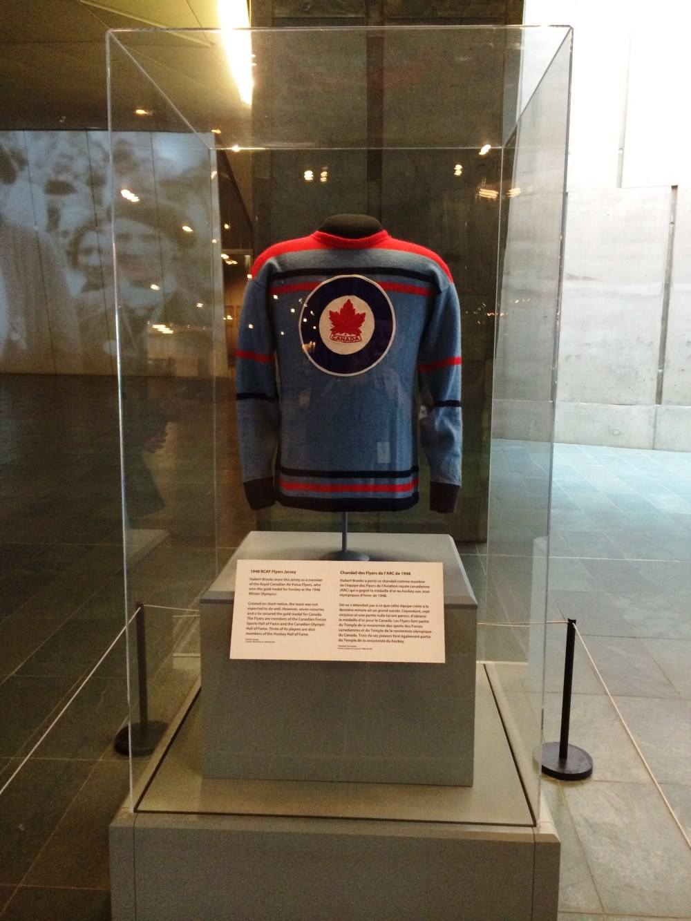 Photo: Canadian War Museum Front Lobby Exhibit of RCAF Flyer Jersey (Number 18 belonging to Hubert Brooks) 2