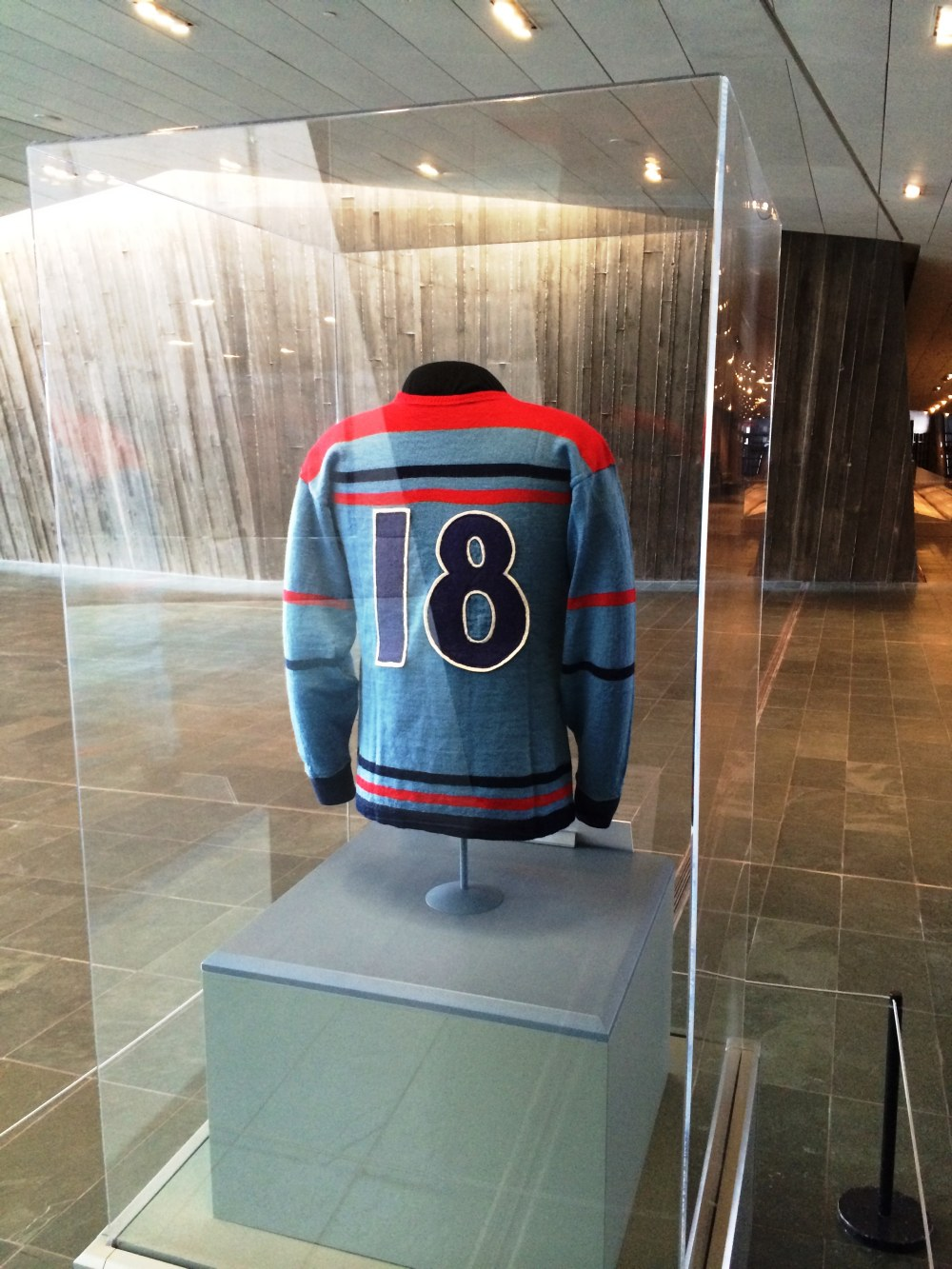 Photo: Canadian War Museum Front Lobby Exhibit of RCAF Flyer Jersey (Number 18 belonging to Hubert Brooks) 3