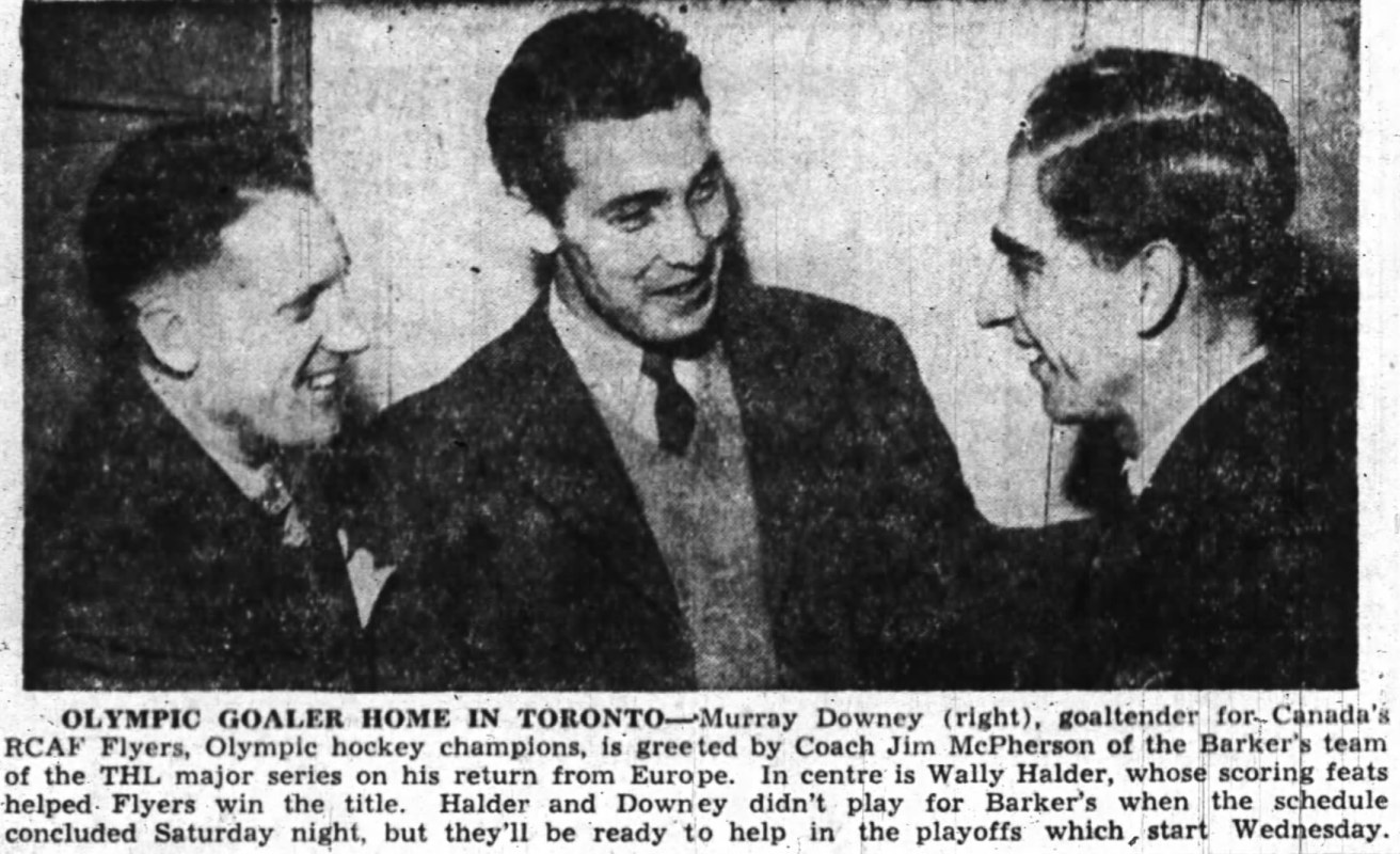 Photo: March 9 1948 RCAF Flyers Murray Dowey and Wally Hadler Back In Canada