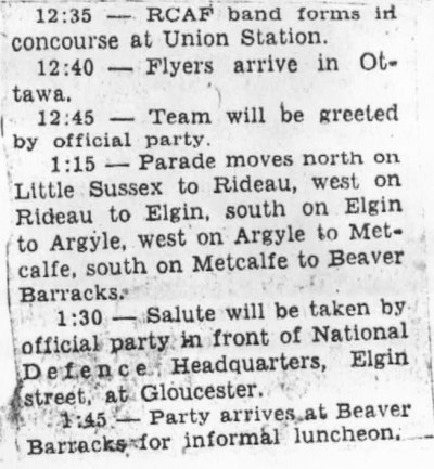 Image: Ottawa Parade Schedule for RCAF Flyers