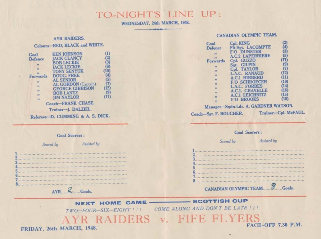 Photo: RCAF Flyers vs Ayr Raiders on Mar 24 1948
