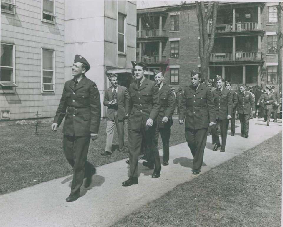 Photo: A Number of RCAF Flyers Outside Beaver Barracks in Ottawa A