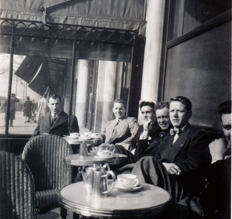 Photo: RCAF Flyers Relaxing at  Paris Café March  1948 Prior to Start of Coupe Jean Potin