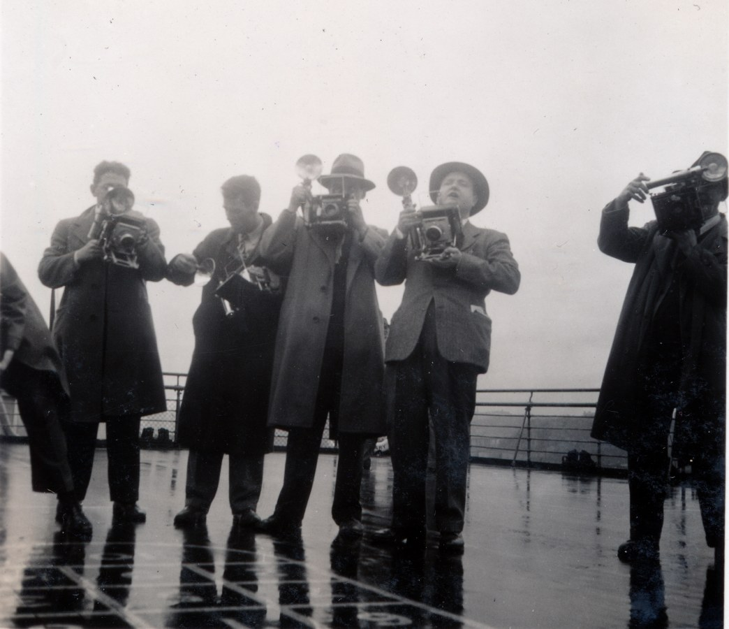 Photo: Press Photographers Board  Queen Mary April 1948 Just Prior to Entering New York Harbor