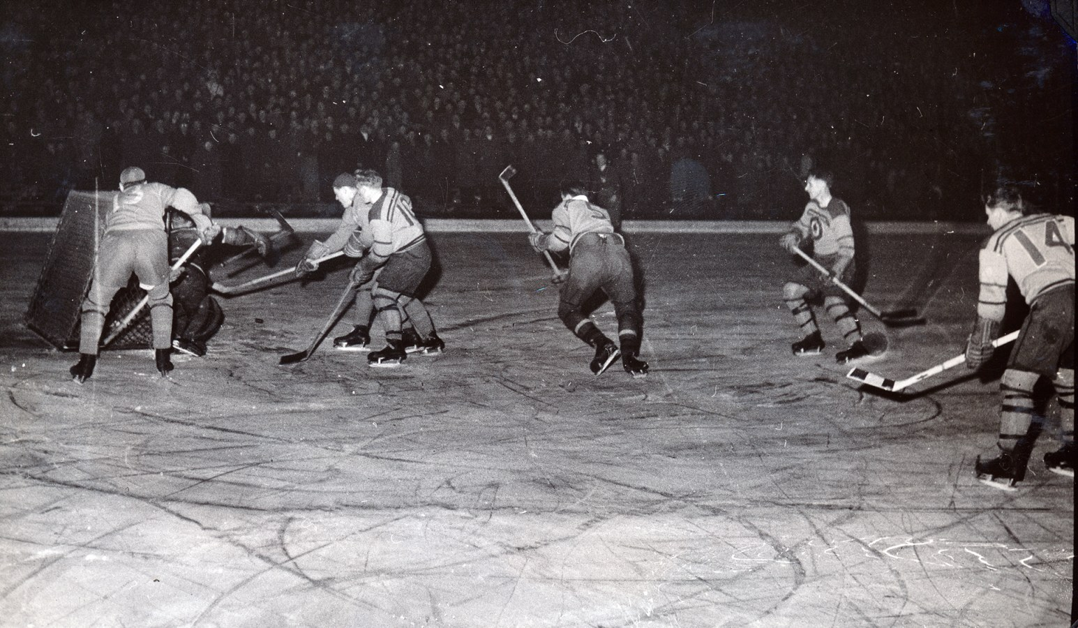 Photo: RCAF Flyers vs Sweden in post Olympic Exhibition Game at Stockholm
