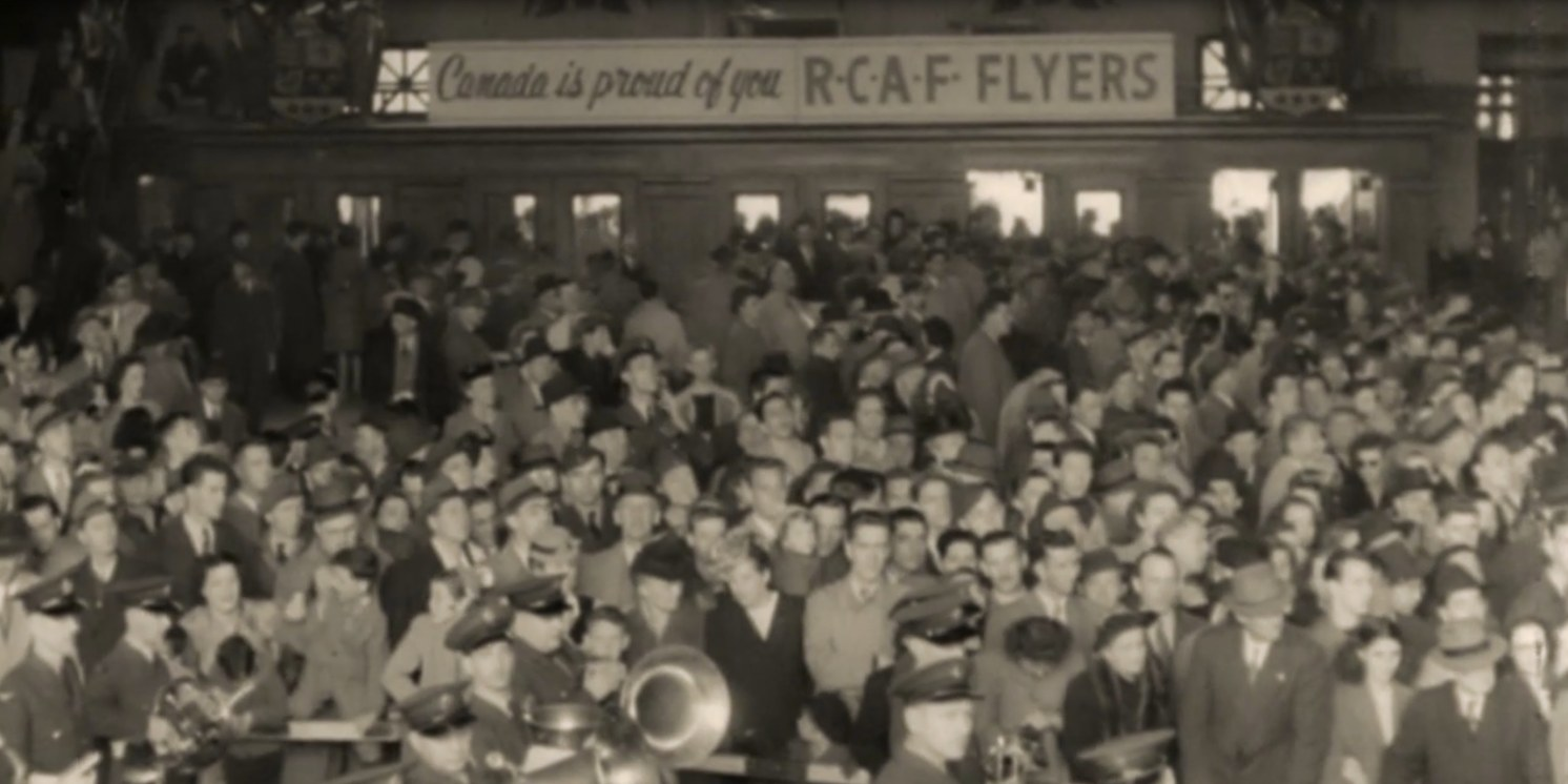 Photo: Welcome RCAF Flyers Banners Drap Union Station Train Station Entrance April 1948