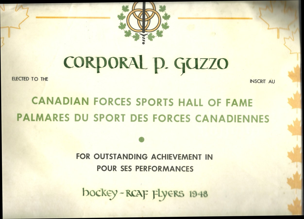 Image : Pat Guzzo Canadian Sports Hall of Fame Certificate