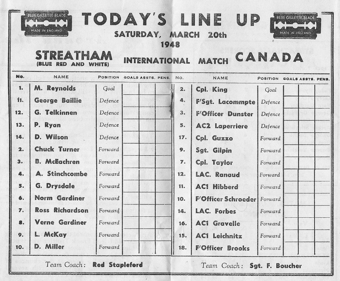 Photo: Program 2 for RCAF Flyers vs Streatham on Mar 20 1948