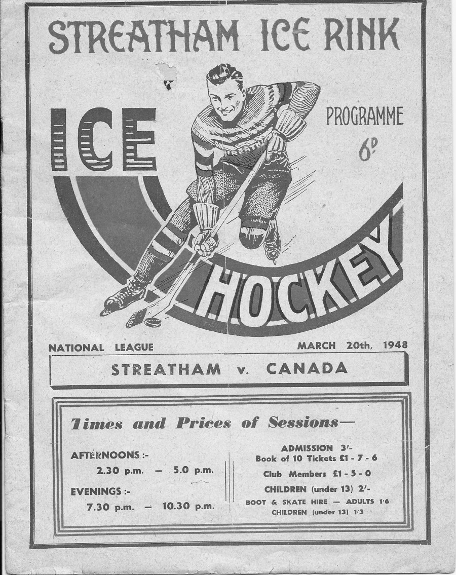 Photo: Program for RCAF Flyers vs Streatham on Mar 20 1948