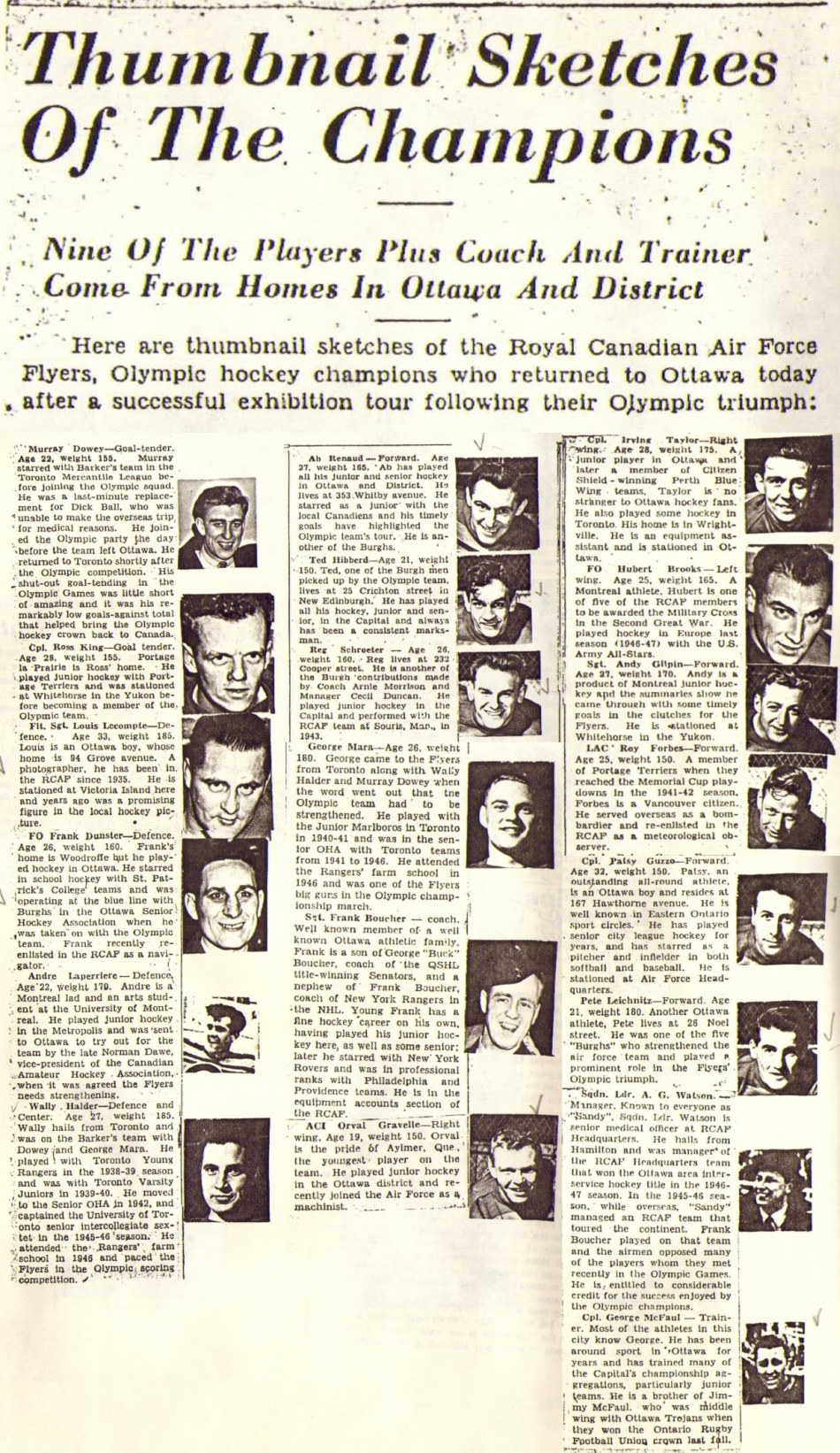 Image: Ottawa Citizen  Thumb Nail Bio of each of RCAF Flyers