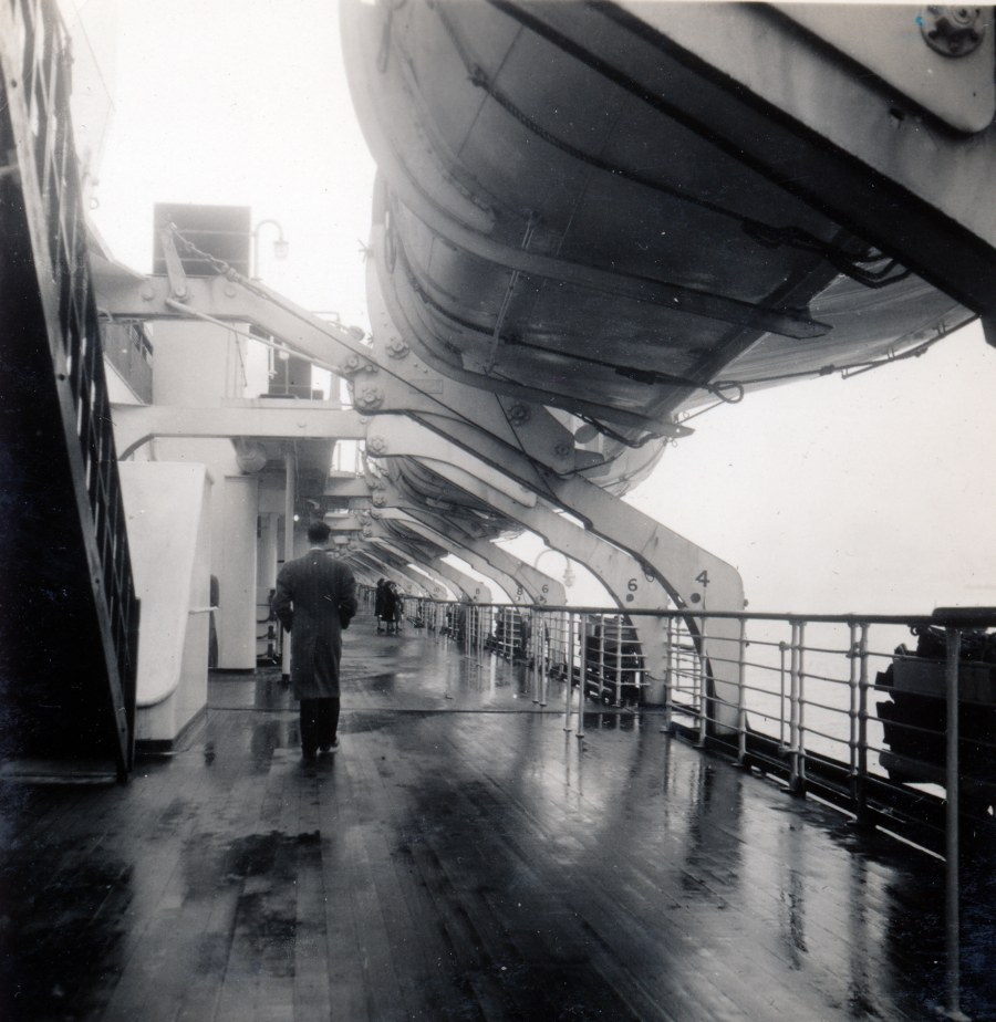 Photo: Walking The Deck of the Queen Mary April 1948
