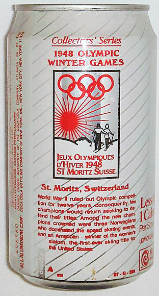 1998 Diet Coke Soda Can commemerating 1948 Olympics