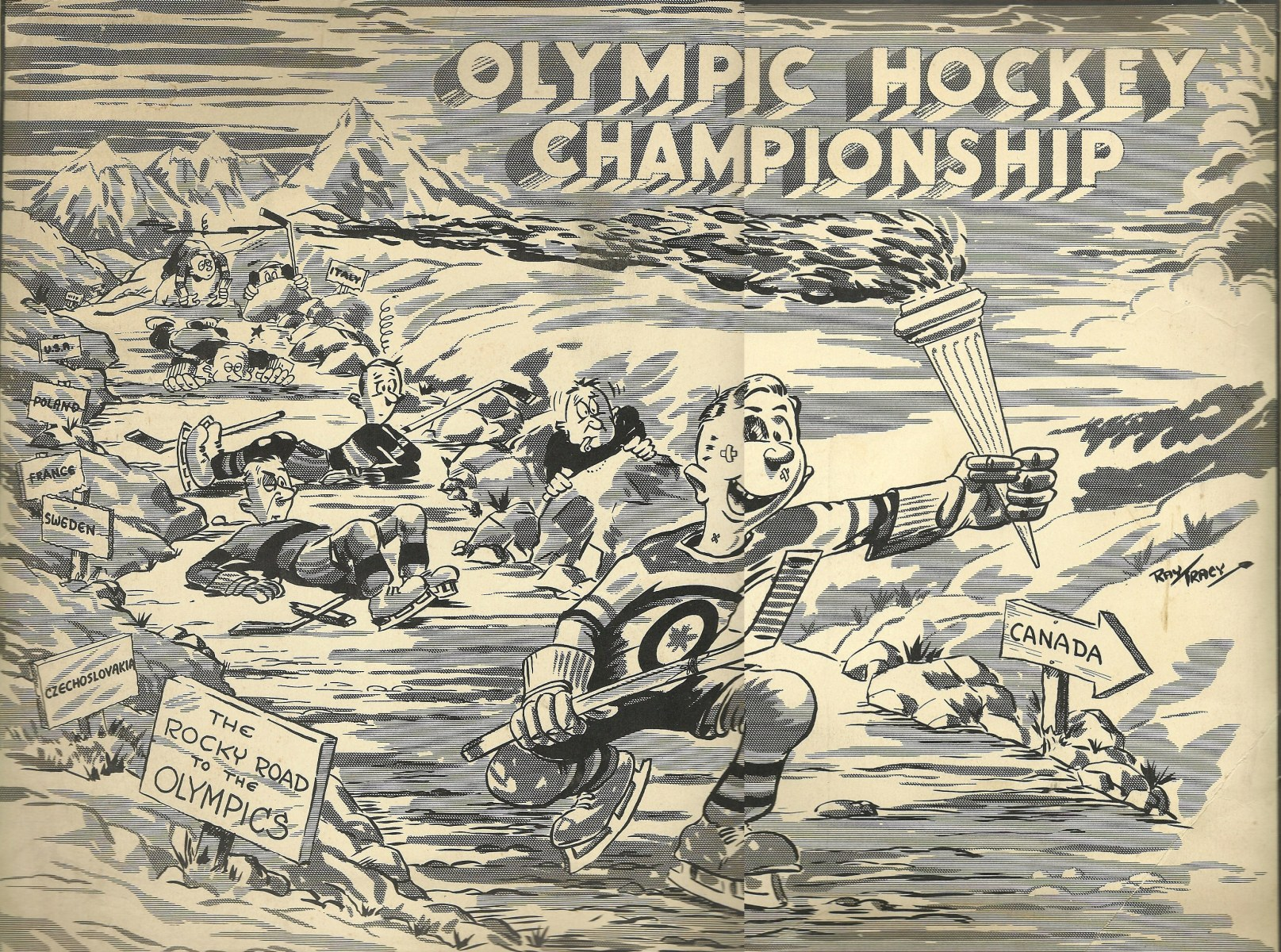 Photo: Cartoon Celebrating RCAF Flyers Victories at 1948 Winter Olympics