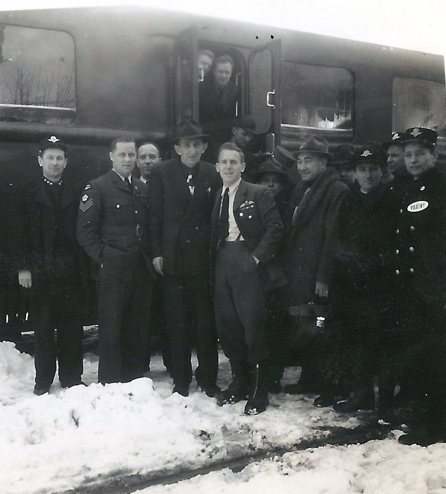 Photo: RCAF Flyers Lecompte and Schroeter Pose  at Train Stop in Czechoslovakia