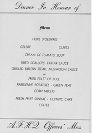 Image: Davos Switzerland AFHQ Officer Mess Menu honoring R.C.A.F.  Flyers 2