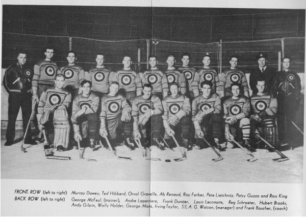 Image: Davos Switzerland AFHQ Officer Mess Menu honoring R.C.A.F.  Flyers 4 – Hockey Team Photo