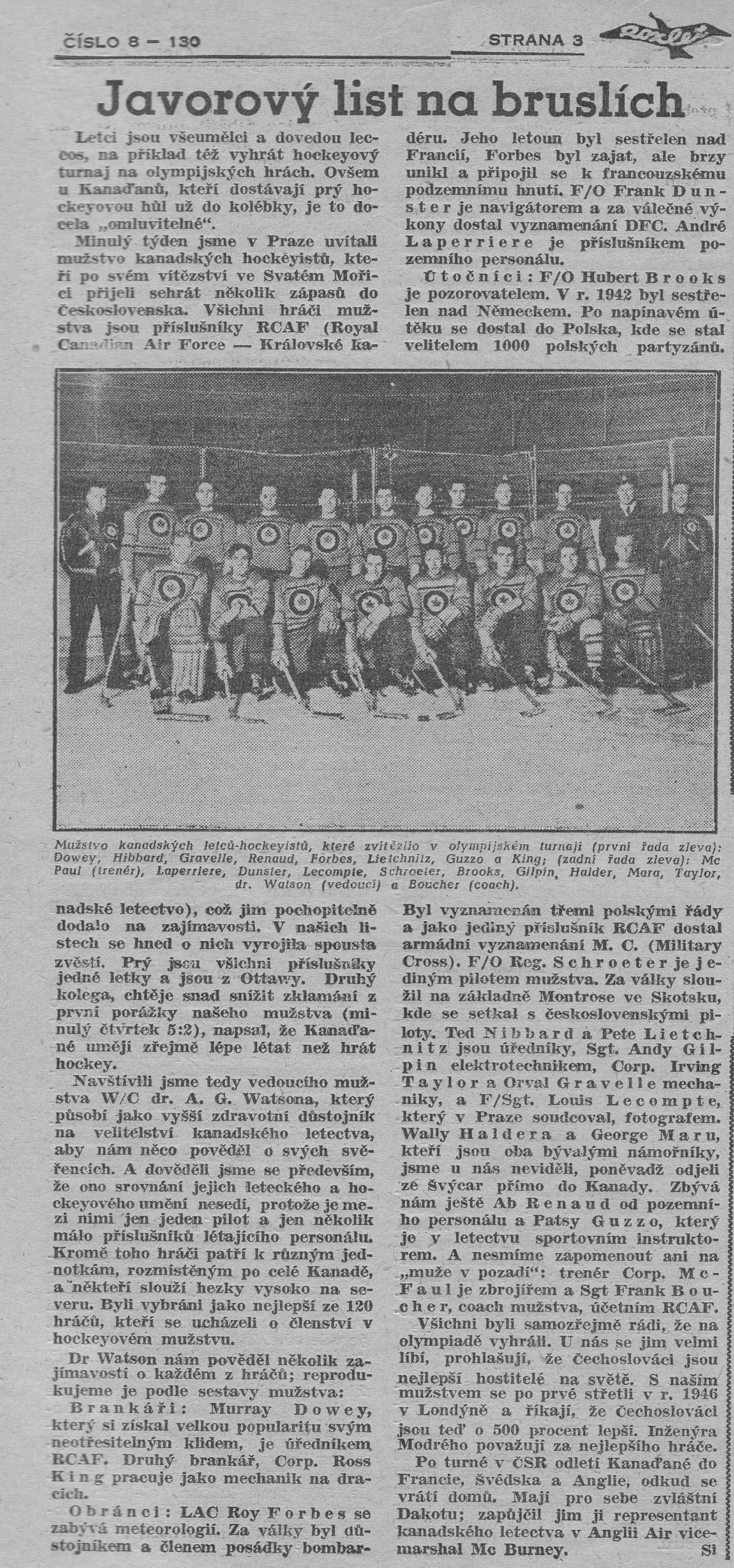 Photo: Page 3 of Czech newspaper Roxlet with RCAF Flyers Team Photo and Individual Bios